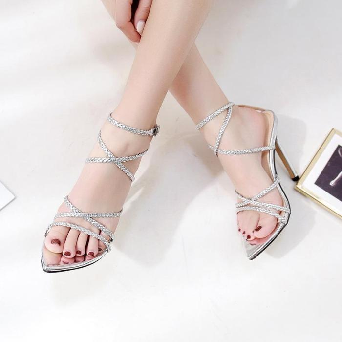 High Heel Pump Ankle Strap Sandals