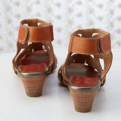 Brown Vintage Hollow-Out Peep-Toe Medium Heels Magic Tape Sling-Back Sandals