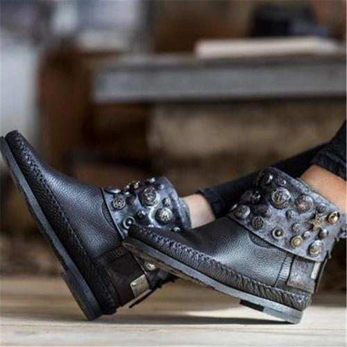 Women's Retro Studded Flat Boots