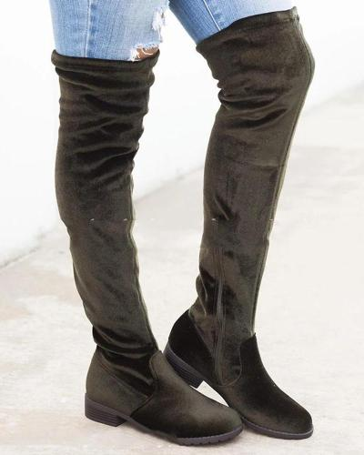 Solid Suede Side Zip Heeled Long Boot
