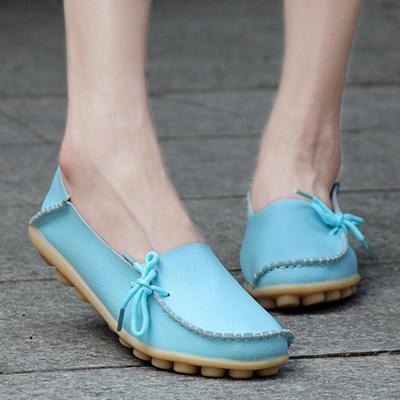 Women's PU Flat Non-slip Bow-trim Flat Shoes