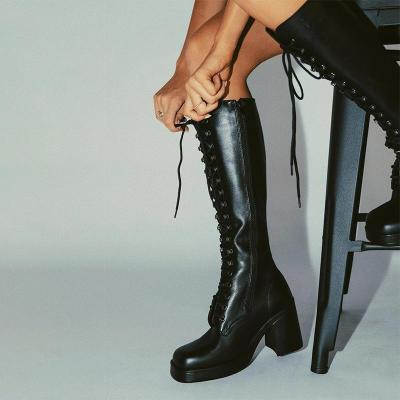 Black Chic High-heel Thick Sole Lace-up Boots