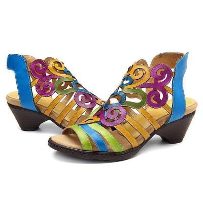Women Chunky Heels Hollow-Out Magic Tape Peep Toe Sandals