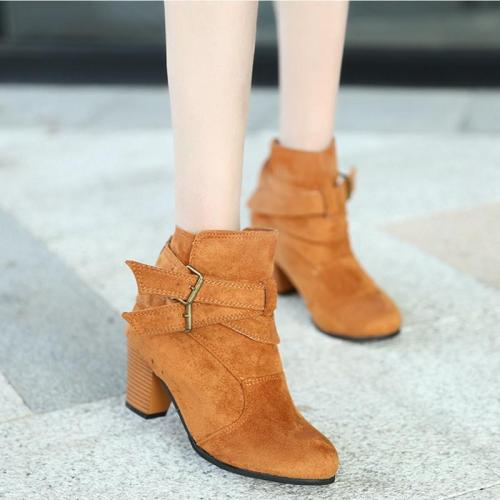 Women Daily Casual Leather Chunky Heels Ankle Boots