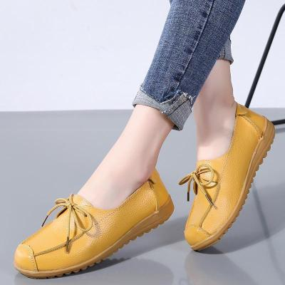 Women Cow Leather Non-Slip Rubber Bottom Loafers Soft Girl Shoes