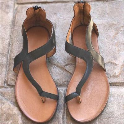 Women  Distressed Leather Slip-on Sandals