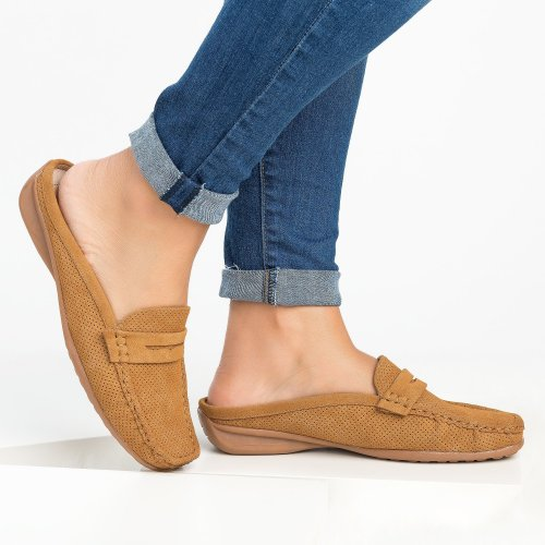Perforated Loafers Flats - Tan