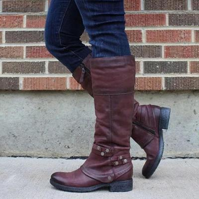 Women Buckle Solid Boots Knee-Height Boots