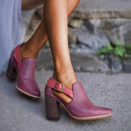 Women Casual Vintage Chunky Heel Booties Sandals Buckle Shoes