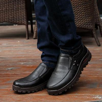 Men Large Size Cow Leather Wear-resistant Casual Shoes