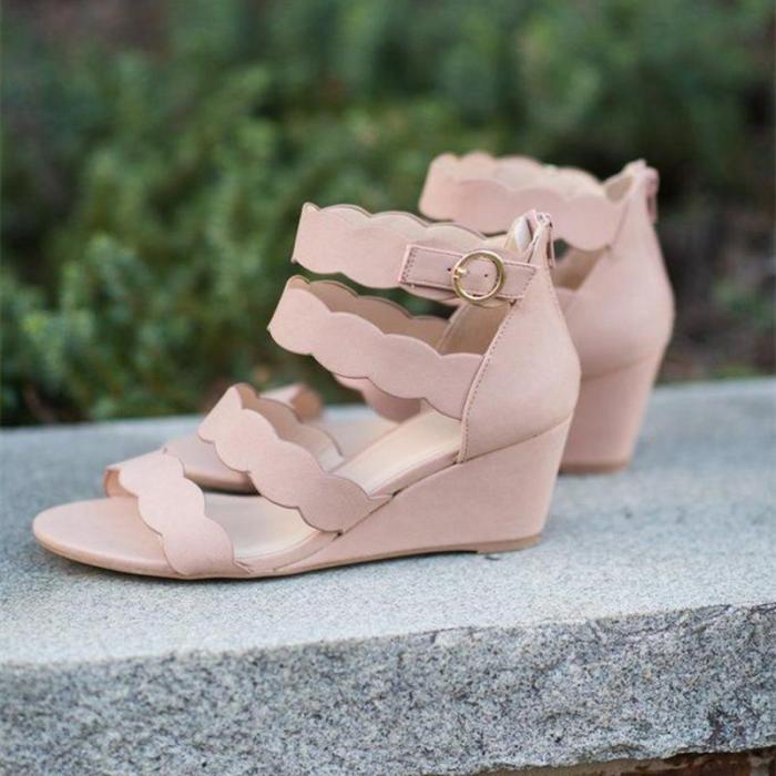 Women's Cashmere Peep Toe Adjustable Buckle Wedge Heel Sandals