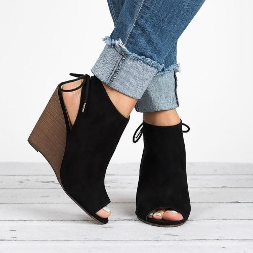 Peep Toe Lace-up Peep Toe Wedges Bootie Women Sandals
