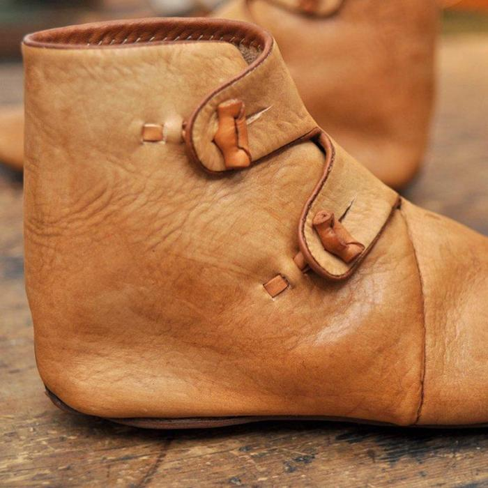 Women Casual Flat Heel Soft Leather Comfy Boots