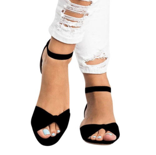 Women's PU Peep Toe Buckle Wedge Heel Flat Sandals