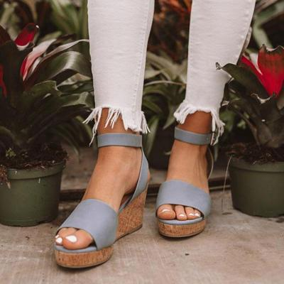 Fashion Ankle-Strap Buckle Platform Wedge Sandals