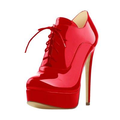 Platform Lace Up Stiletto High Heels Platform Ankle Bootie
