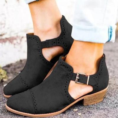 Round Toe Buckle Hollow Chunky Heel Low-Cut Upper Mid-Heel Thin Women Flats