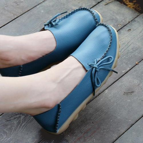 Women's Lightblue PU Flat Non-slip Bow-trim Flat Shoes