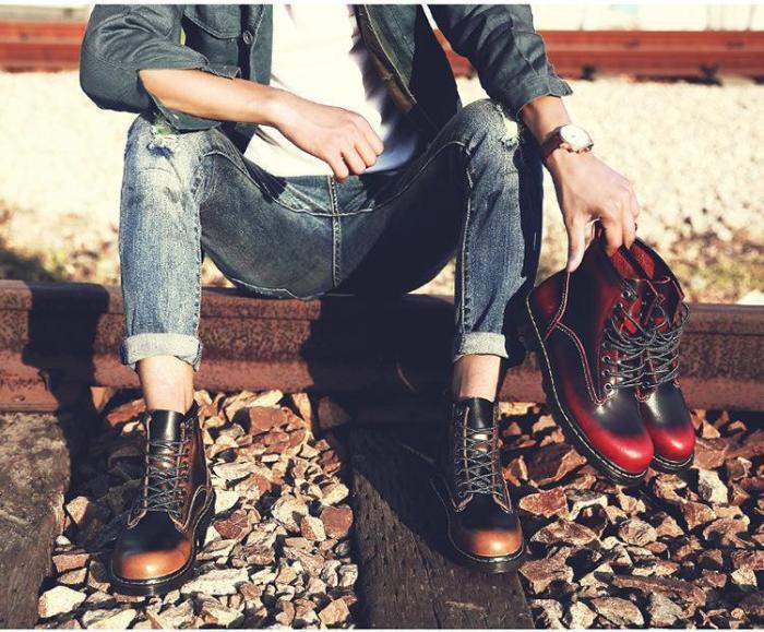 Fashion Round Head Plain Strappy Vintage Boots