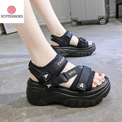 Sneakers Sandals Peep-toe Wedge Platform Shoes Woman high Heels Thick