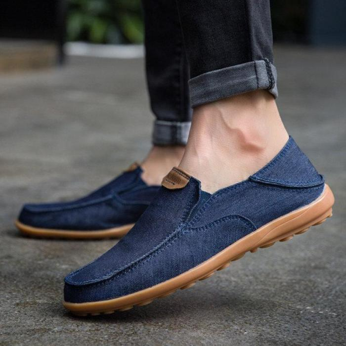 Mens Canvas Collapsible Heel Non-slip Slip On Casual Shoes