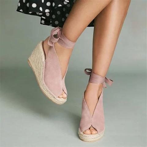 Espadrille Ankle Tie Sandals Peep Toe Wedge Sandals