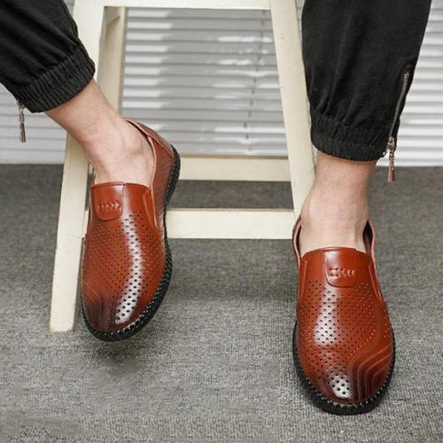 Mens Spring Summer Hollow Slip-on Loafers Flats Shoes