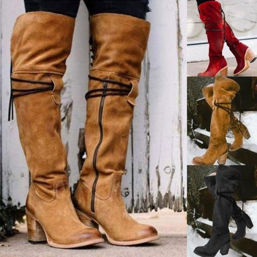 Women Vintage Knee High Lace Up Zipper Boots Plus Size Warm Snow Boots