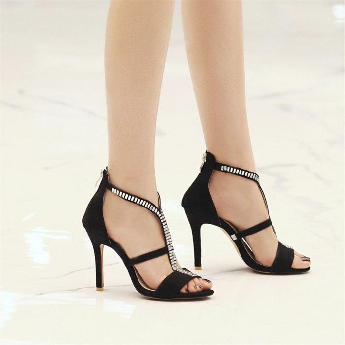 Women Sandals Fashion Rhinestone Elegant Sexy Thin Heels Classic Flock Wedding