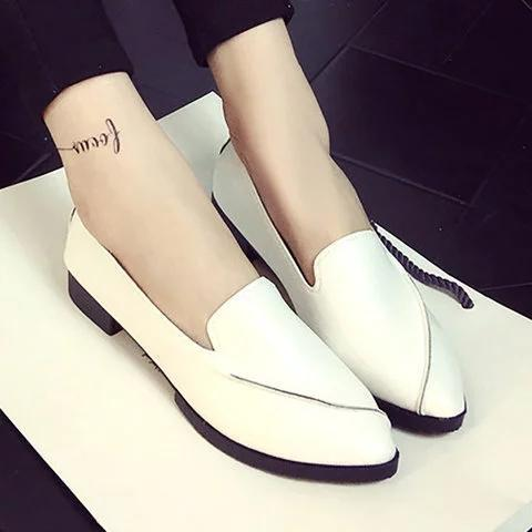 Women Simple Style Pointed Toe Women's Slip-On Flat Work Shoes