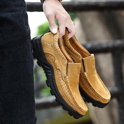 Mens Genuine Leather Slip-on Climbing Hiking Shoes