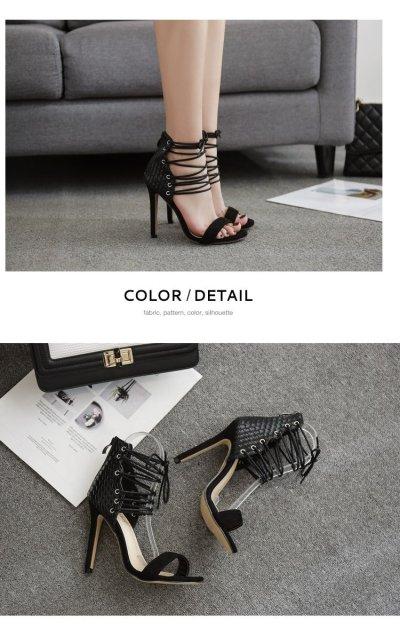 Summer Female Sandals Heels Cross Strap Roman Cool Boots Blue Shoes