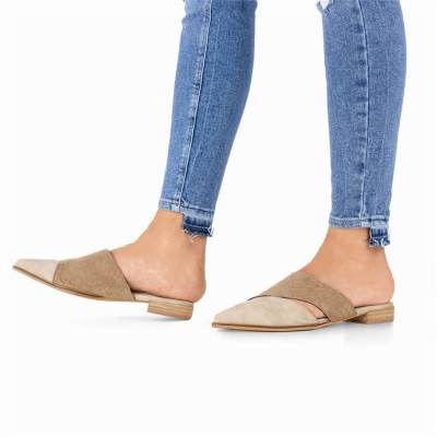 Womens Cut Out Low Heel Pointed Toe Slippers