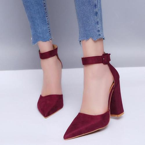 Womens Shoes Heels  Women Pumps Sexy High Heels Shoes Ladies Lace Up Point Toe Party Wedding Pump Black Woman Shoes 35-43