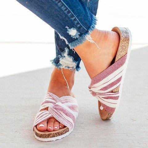 Cloth Upper Twist Flat Stripe Mule Sandals