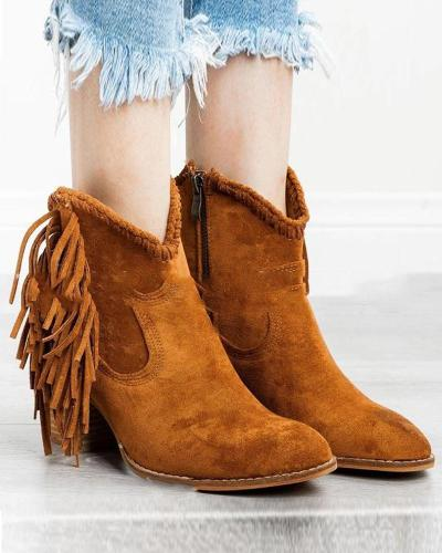 Side Zip Tassle Ankle Bootie