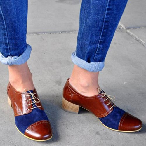 Lace-Up Chunky Color Block Saddle Shoes