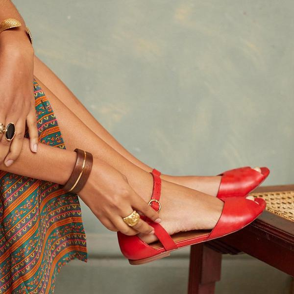 Peep Toe Ankle-Strap Buckle Flat Sandals