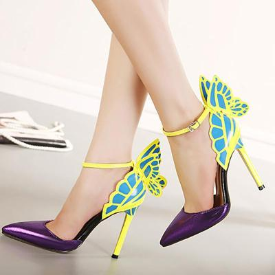 Purple Pointed Toe Elegant Butterfly Heels