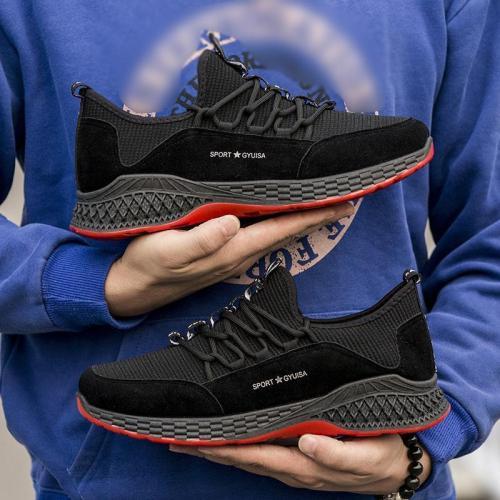 Non-slip Men Fashion Lace-up Round Toe Sneakers