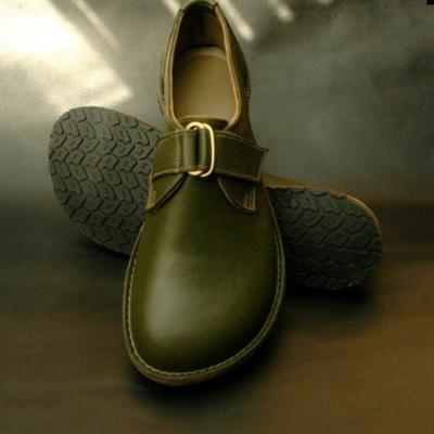 PU Round Toe Flat Buckle Trim Casual Shoes