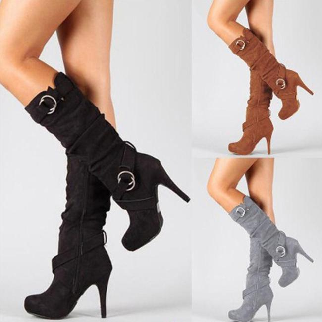 Warm Stiletto Zip Suede Stretch Knee High Boots