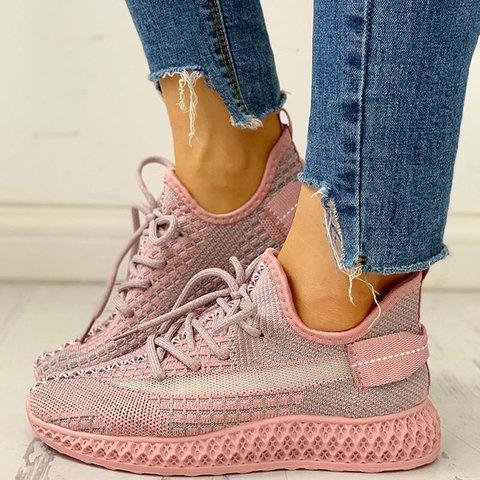 Color Block Lace-up Closed Toe Fashion Sneakers