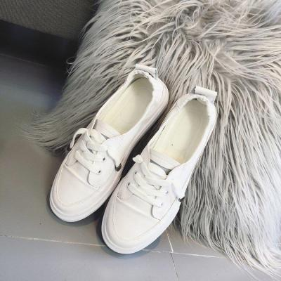 Women's Shoes 2020 New Leather Fiber Soft Bottom Casual Shoes Lace Up Non Slip Shoes