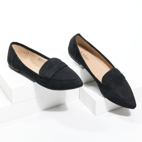 Pointed Black Loafer Flats