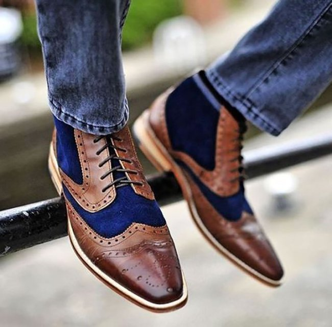 Splice Colouring Tie Casual Leather Shoes