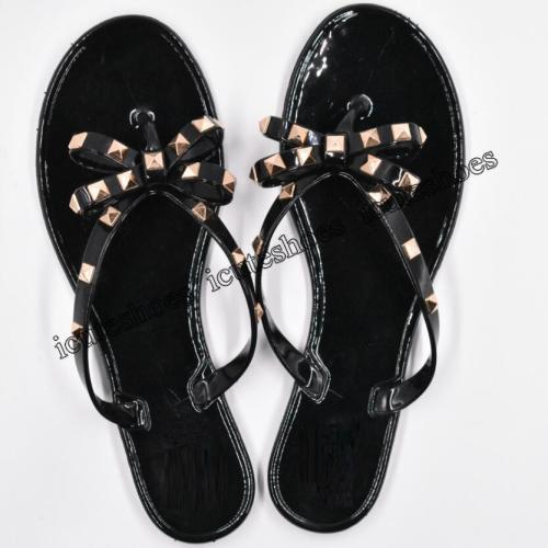Fashion Woman Flip Flops Summer Shoes Cool Beach Rivets big bow flat sandals