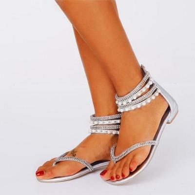 Beading Rhinestone Thong Women's Flat Flops Sandals