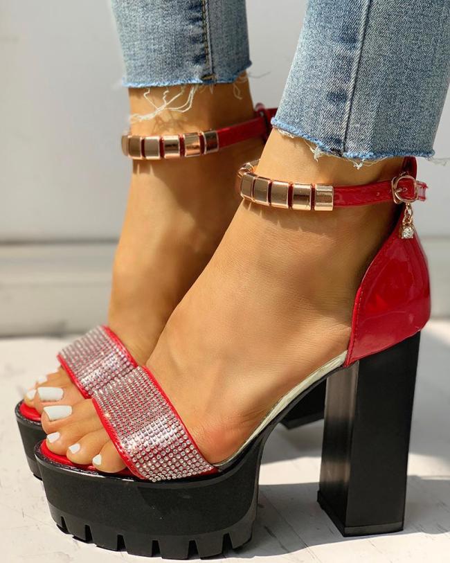 Rhinestone Water Ankle Strap Platform Chunky Heeled Sandals