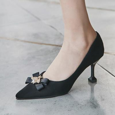 Elegant Pointed Toe Suede Daily Bowknot Heels